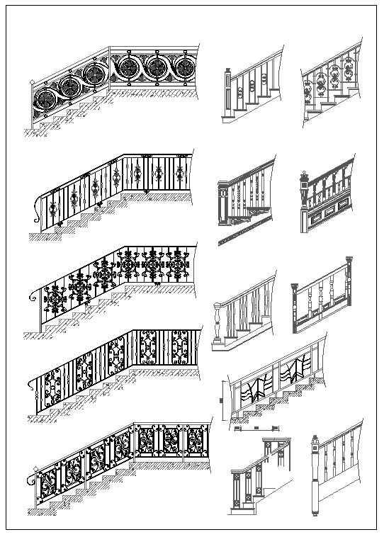 Ornamental Stair Parts Download Cad Blocks Drawings