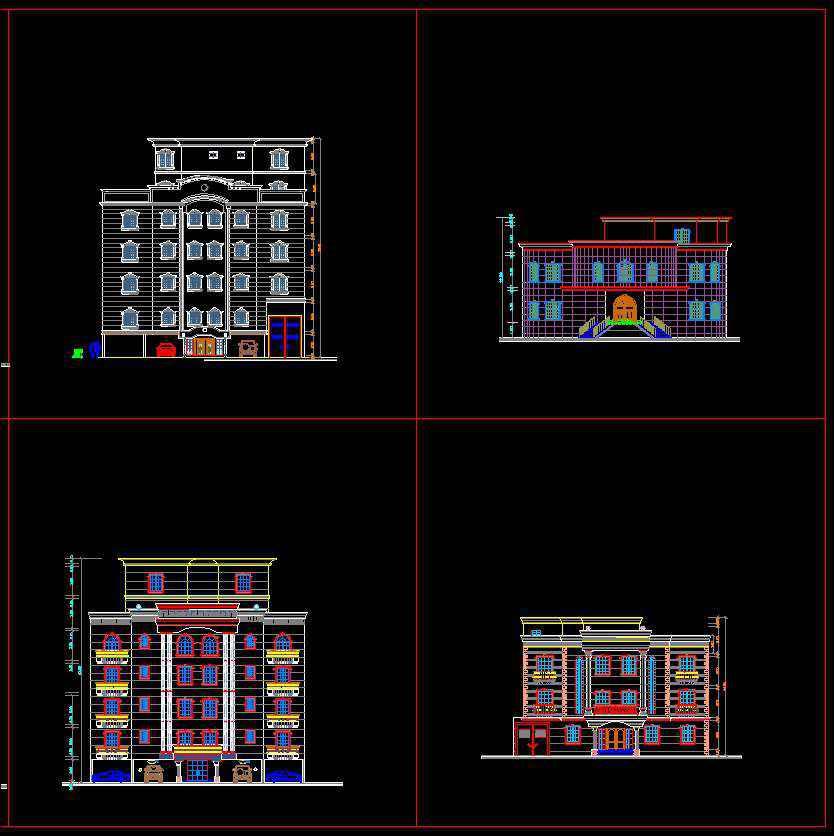 Building Elevation 5 Free Cad Blocks Drawings Download