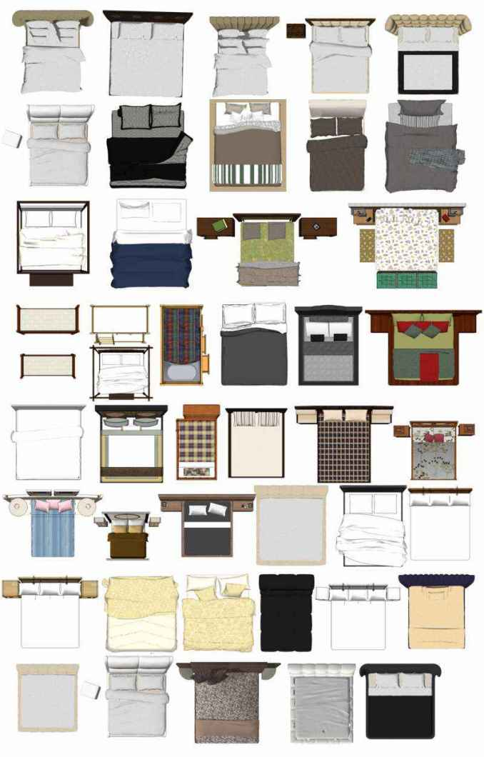 Free photoshop psd bed blocks 2 free cad blocks for Photoshop room templates