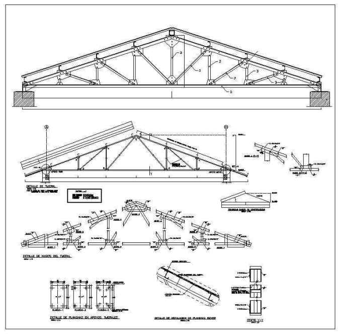 Truss structure details 7 free cad blocks drawings for Roof drawing software