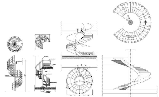 Free Spiral Stair Details – Free Autocad Blocks & Drawings Download
