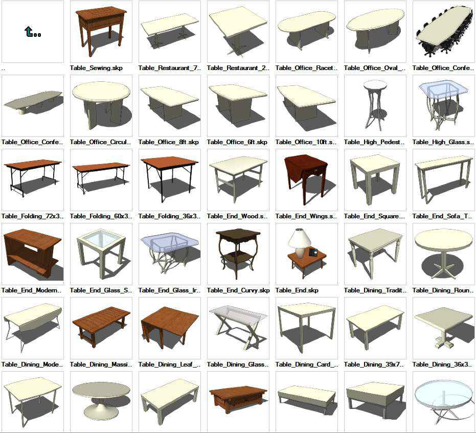 Sketchup tables 3d models download free cad blocks for Table design sketchup