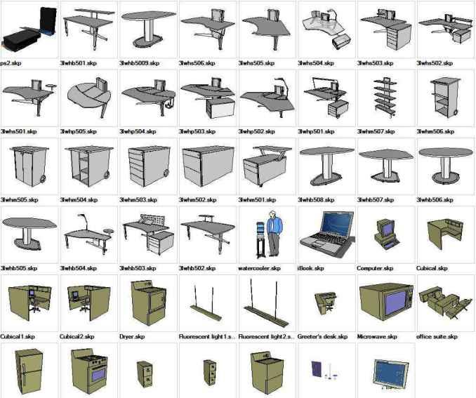 Sketchup office 3d models download free cad blocks for Modelli cad 3d free