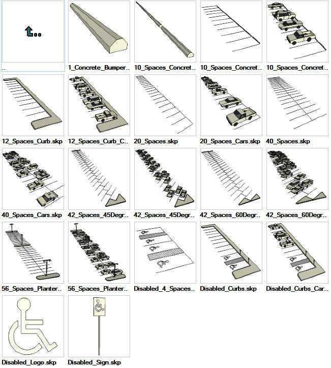 Sketchup Parking Layouts 3D models download on sketchup drawing symbols, sketchup material symbols, autocad symbols, sketchup tools symbols,