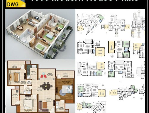 1000 Modern House Autocad Plan Collection – Free Autocad Blocks