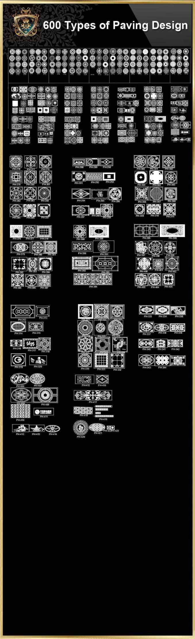 Over 600 Types Of Paving Design Cad Blocks Download Cad