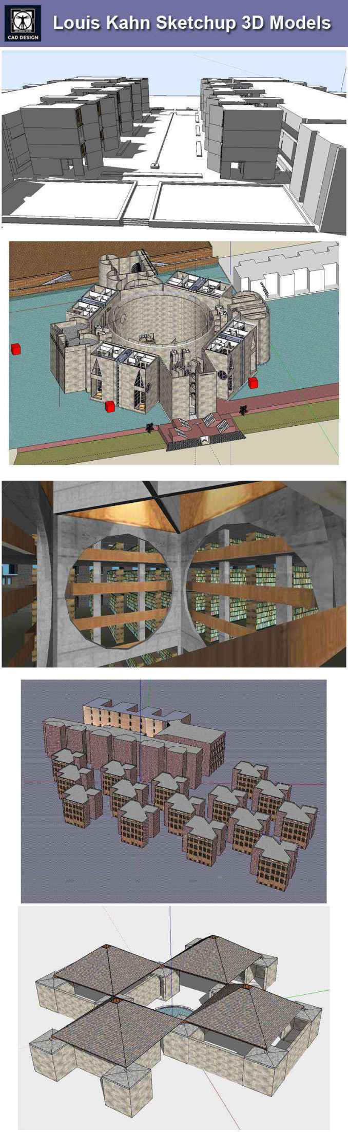 Download 7 projects of louis kahn architecture sketchup 3d for Wharton cad