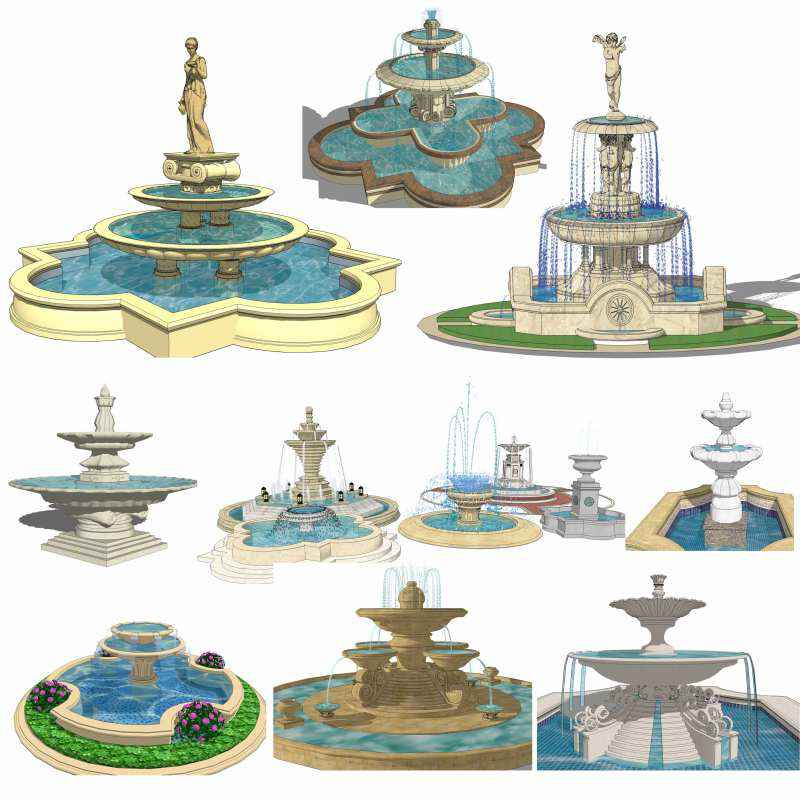 European fountain landscape sketchup 3d models best for Fountain autocad block