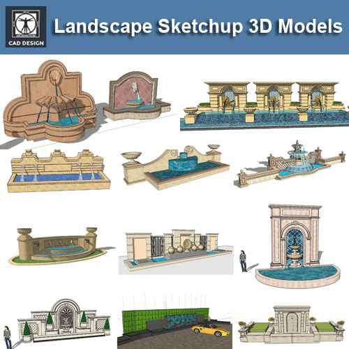 European Fountain & Waterfall Landscape-Sketchup 3D Models