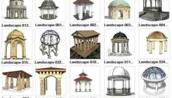 European Fountain Landscape-Sketchup 3D Models(Best