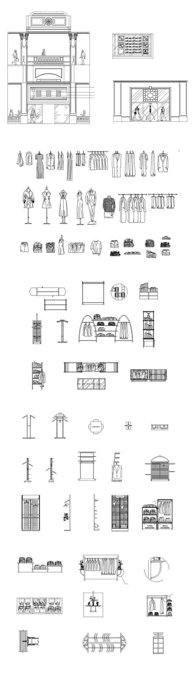 ★【Shopping Centers,Store CAD Design Elevation,Details Elevation  Bundle】V 4@Shopping centers, department stores, boutiques, clothing stores,  women's