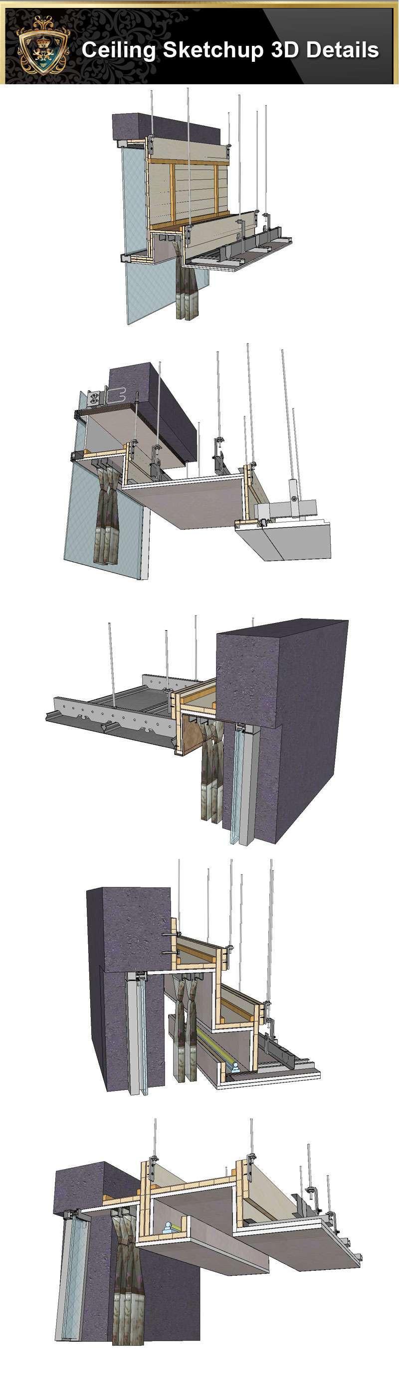 【Best 70 Types Ceiling Sketchup 3D Detail Models ...