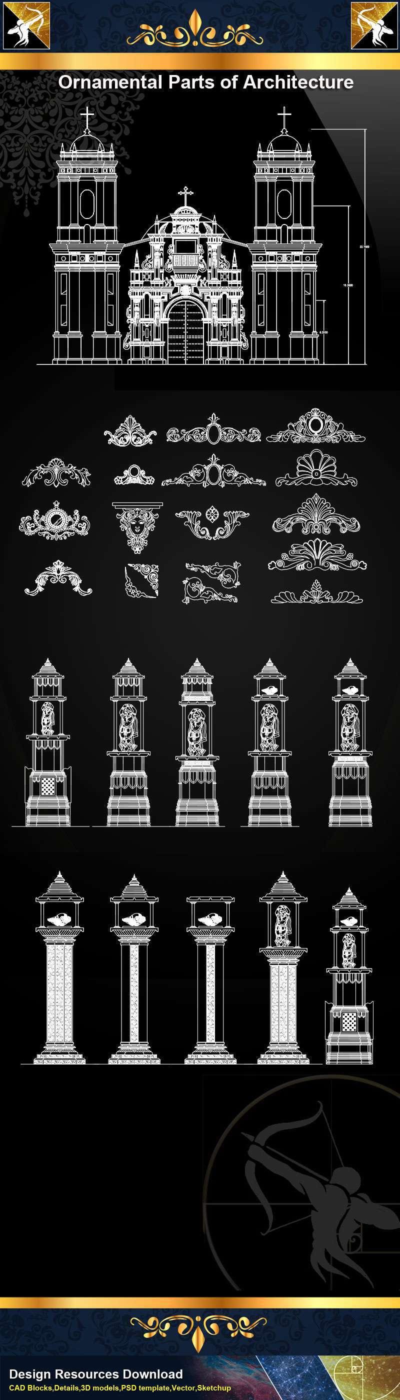 ★【Ornamental Parts of Architecture -Decoration Element CAD Blocks V.6】@Autocad Decoration Blocks,Drawings,CAD Details,Elevation