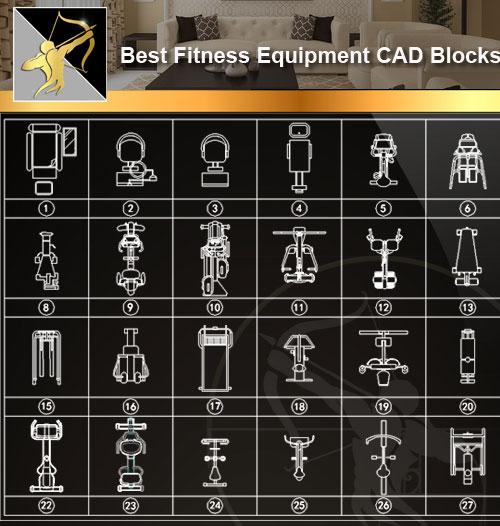 Fitness equipment cad blocks u free autocad blocks drawings