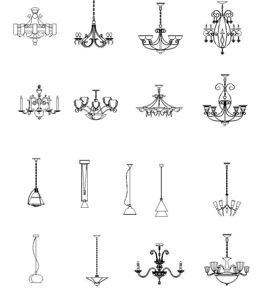 Chandelier, Crystal lamp Autocad Blocks】-All kinds of