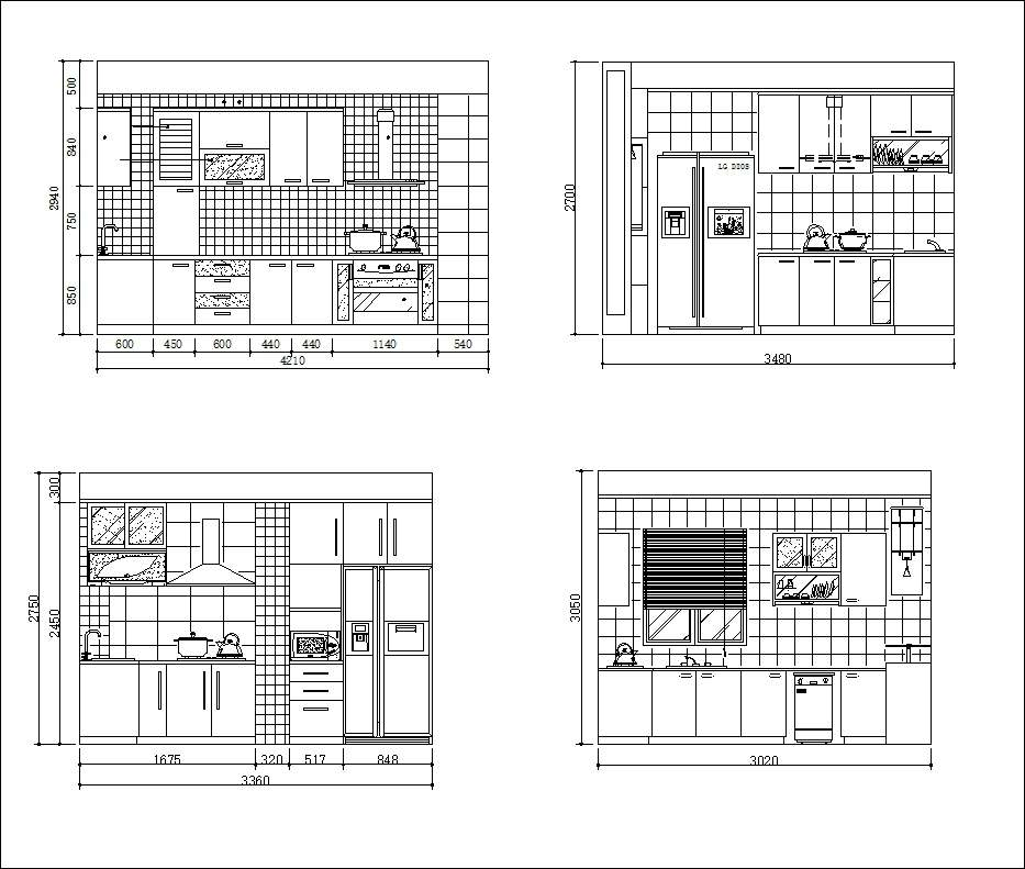 Kitchen Cad Blocks Elevations