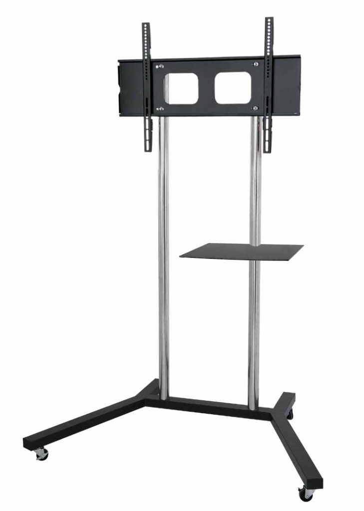 FS402 TV trolley stand with 2 large chrome poles & glass shelf for laptop, DVD player