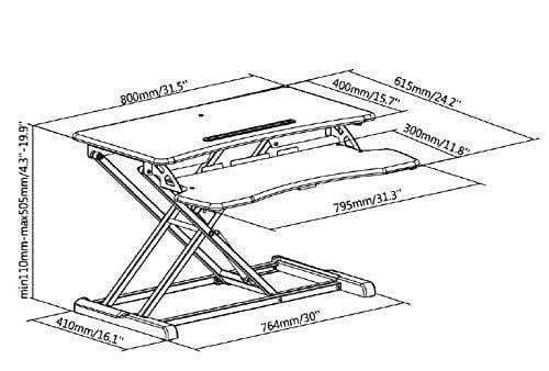 GSS061W Gas-spring Sit-Stand Workstation W 80x D 40x H 50cm