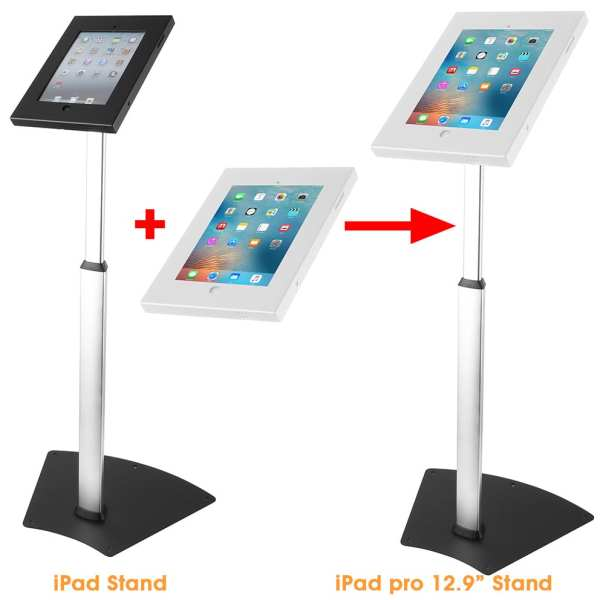 """Anti-theft iPad stand to iPad Pro floor stand with 12.9"""" big security enclosure"""