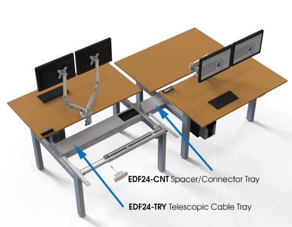 edf24q electric standing desk work bench with spacer and cable tray