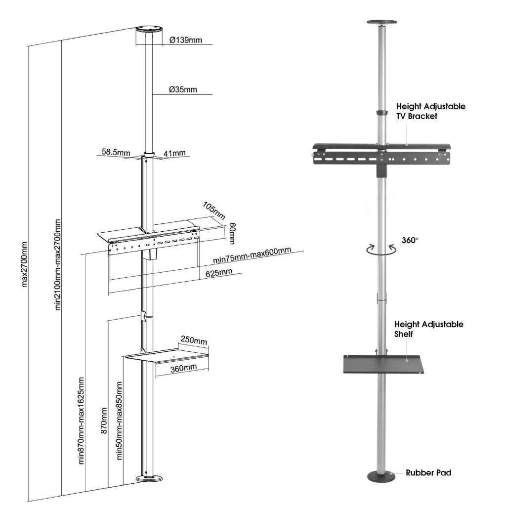 FCM63M floor ceiling tv mount tension pole features sizes dimensions diagram