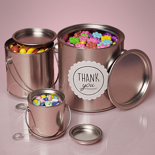 Large Round Steel Buckets WHandles Candy Buffet Container