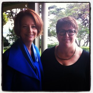 Kim Palmer Berry meeting the Australian Prime Minister Julia Gillard