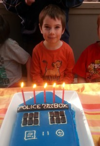 Grover and the tardis cake