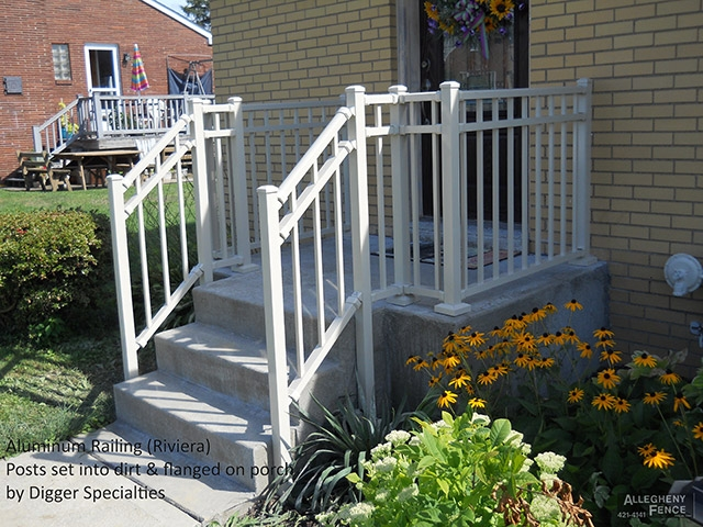 Pittsburgh Residential Railings And Columns Allegheny Fence | Aluminum Handrails For Concrete Steps | Garden | Residential | Vinyl | House Stone | Back Patio