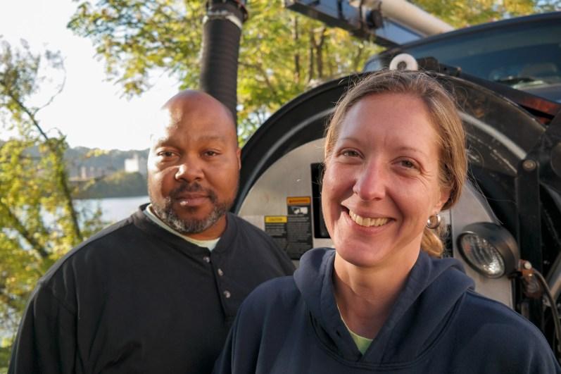 "Vac truck operators Damon ""Hop"" Hopkins and Shanda Kelley. Photo: Lou Blouin"