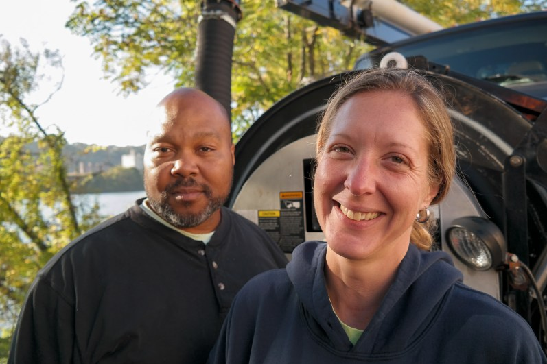 "Vac truck operators Damon ""Hop"" Hopkins and Shanda Kelley. Photo: Lou Blouin"