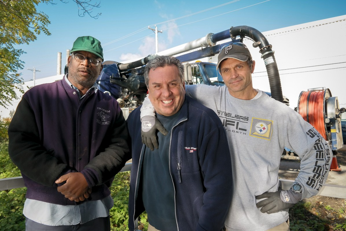 Darryl Smith, Charles Simone and crew supervisor Mike Altimore. Photo: Lou Blouin