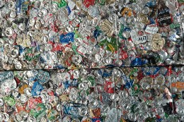 Aluminum is one of the highest value commodities in modern recycling systems. The compressed bails of aluminum cans at the recycling sorting facility in Pittsburgh weigh well over 1,000 pounds. Photo: Lou Blouin