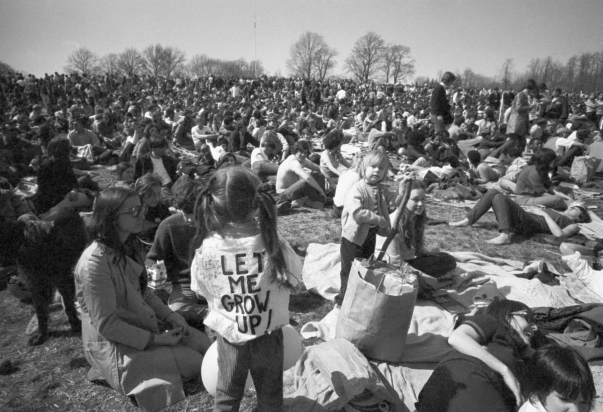 More than 20,000 people gathered in Philadelphia's Fairmount Park on April 22, 1970 as part of the inaugural Earth Day celebration. Photo: AP