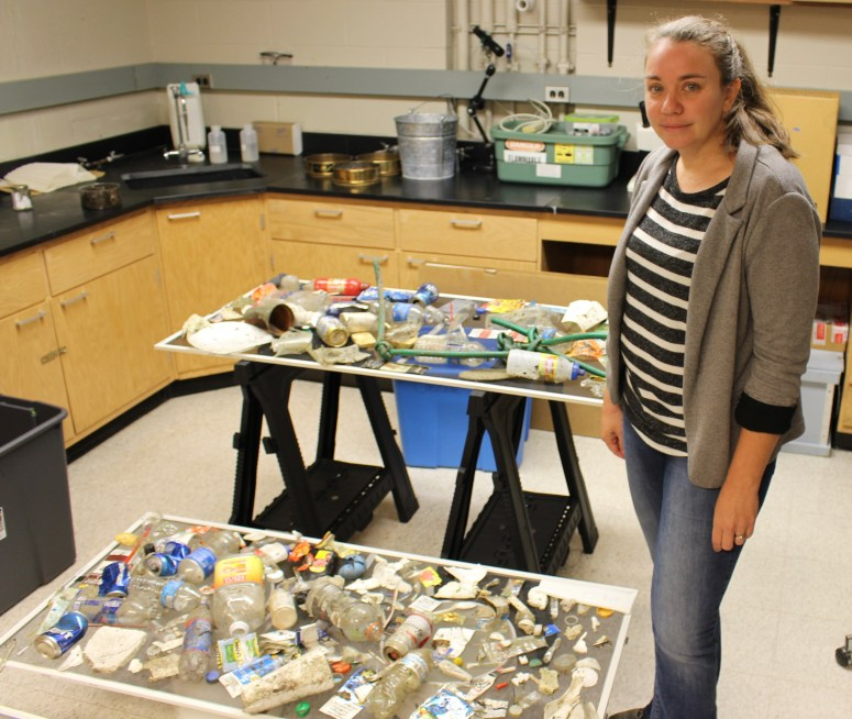 Penn State's Sherri Mason in her lab, where litter her class has collected is drying on screens. Photo: Julie Grant