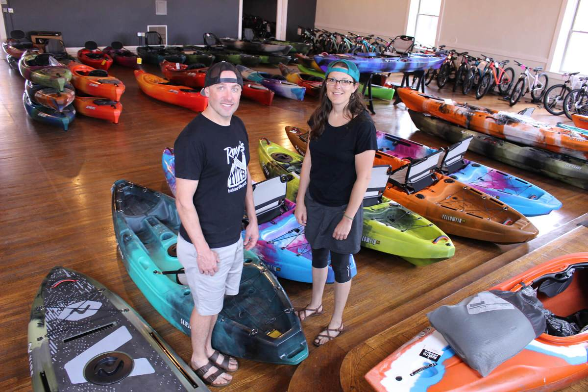 Ryan Smith and Hallie Taylor own the Marietta Adventure Company. (Photo by Julie Grant/The Allegheny Front)