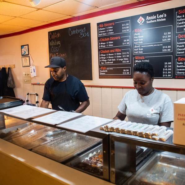 Terry Stenhouse (left) works with Lethera Harrison behind the counter of Annie Lee's Southern Kitchen. Photo: Njaimeh Njie