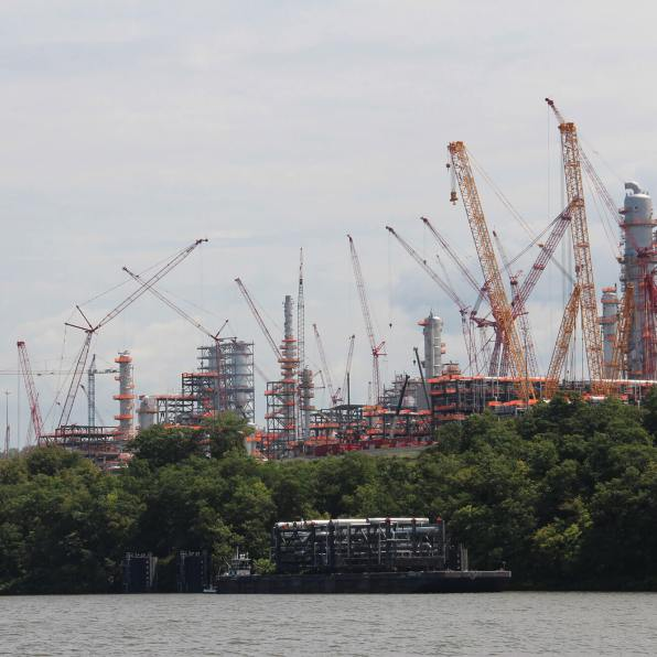 Construction of Shell's $6 billion ethane cracker along the Ohio River in Beaver County, Pennsylvania, in June 2019. (Photo by Reid Frazier/The Allegheny Front)