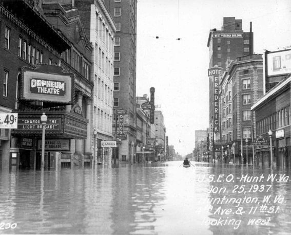 U.S. Army Corps of Engineers photo of Fourth Avenue in Huntington, West Virginia, during the 1937 flood. Photo: Huntington District, U.S. Army Corps of Engineers