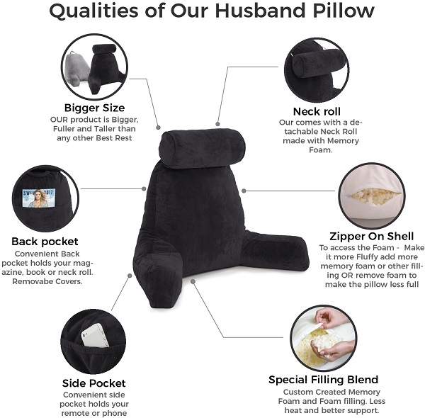 husband pillow big bed rest reading pillow backrest with arms