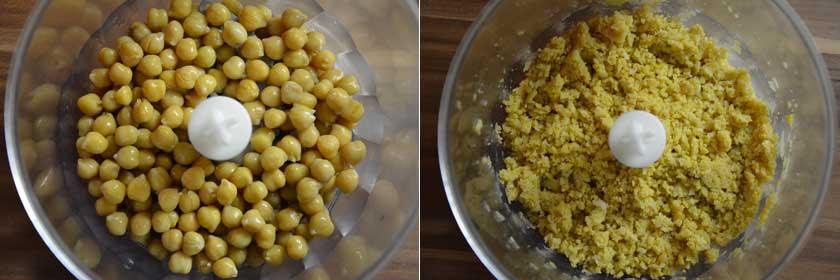 Kichererbsen gut zerkleinern für Avocado Hummus