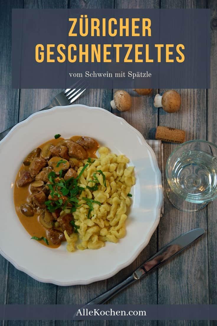Züricher Geschnetzeltes vom Schwein mit Spätzle ist das perfekte Mittagessen. Es ist ein sehr einfaches Rezept für jeden zum nachkochen.