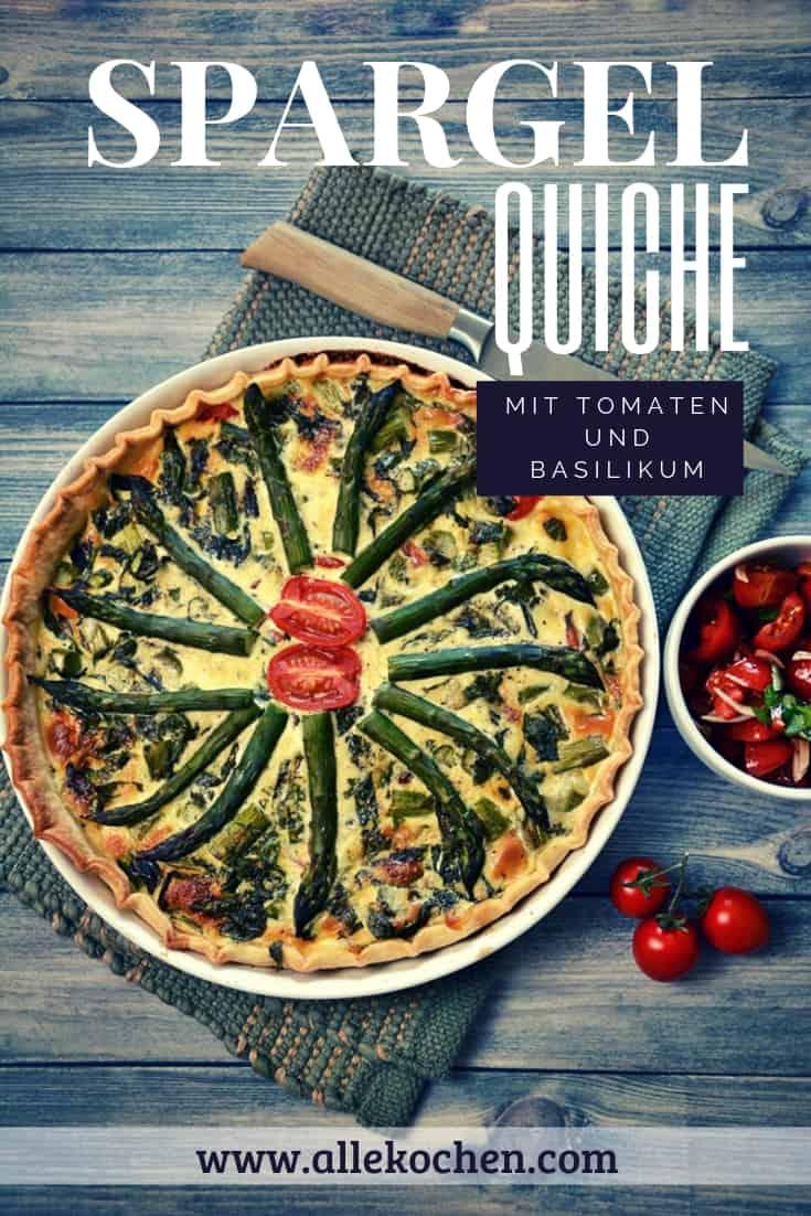Ein Rezept für Spargelquiche mit Tomaten und Basilikum. Vegetarisch kochen, schnell und einfach genießen. Die Quiche kommt aus dem Ofen, kann auch am Blech zubereitet werden. Alternativ kann man die Quiche aber auch mit Lachs oder Schinken grillen.