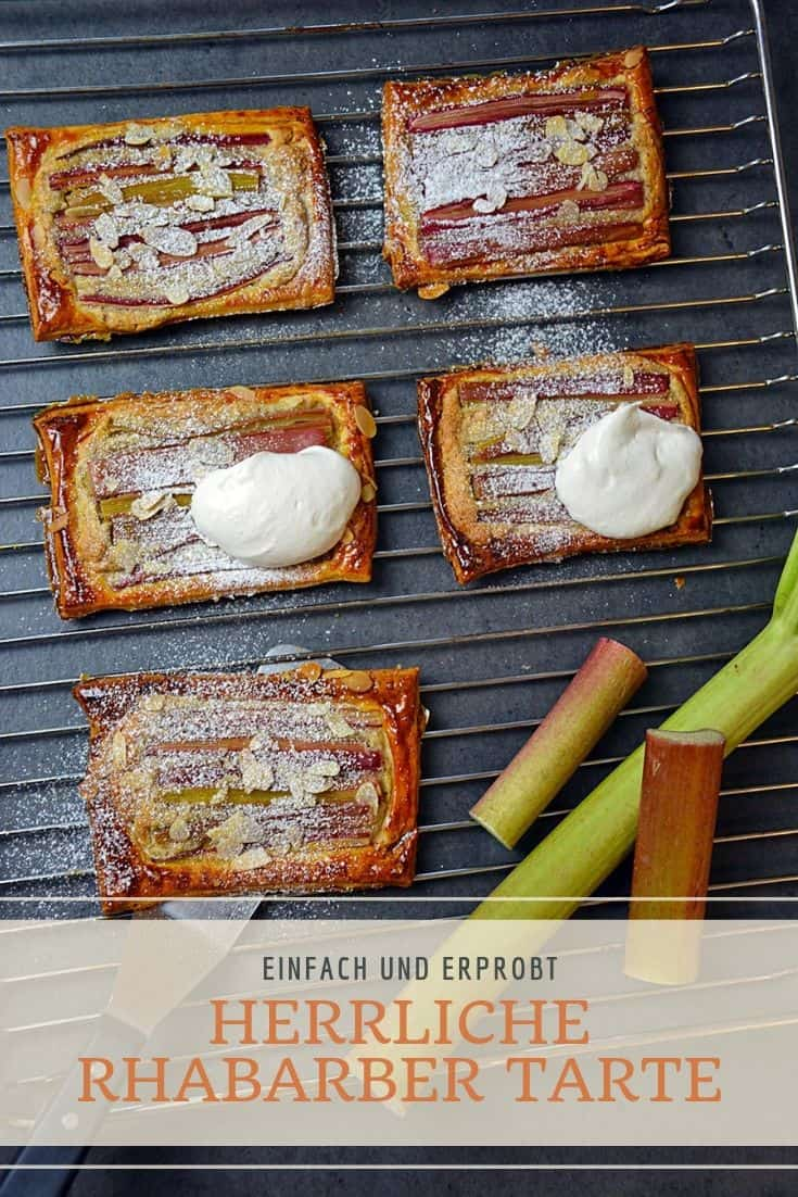 Das einfache Rezept für Rhabarber Tarte mit Mandeln als perfekte Nachspeise. Das Dessert kann man toll vorbereiten und deine Gäste werden begeistert sein. #rhabarber #tarte