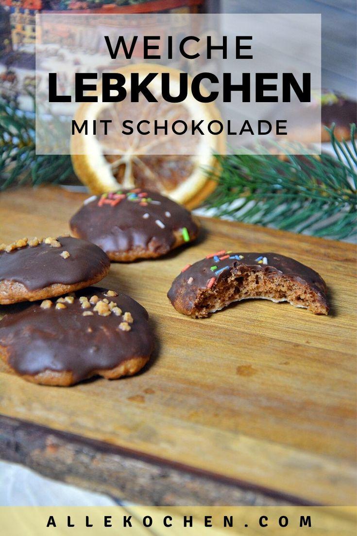 Du magst Lebkuchen zu Weihnachten? Dann wirst du diese weiche Lebkuchen Kekse mit Schokolade lieben. Sie sind schön klein und passen in jeden Mund.