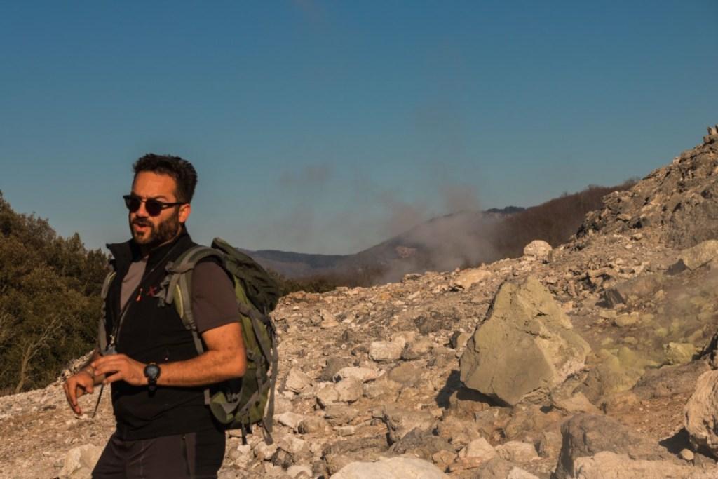 Andrea la nostra guida nelle zone di Sasso Pisano e delle Biancane di Monterotondo