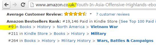 UK bestseller lists, UK best seller, UK Amazon lists, Vietnam War novel