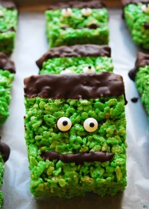 Frankenstein-Krispies (Gluten-dairy-egg-soy-peanut-tree nut free-vegan-option) Dessert-recipe-by-AllergyAwesomeness.com