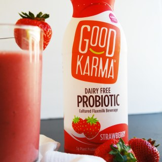 2 Ingredient Strawberry Probiotic Smoothie (Gluten, dairy, egg, soy, peanut & tree nut free; top 8 free; vegan) Breakfast recipe by AllergyAwesomeness.com