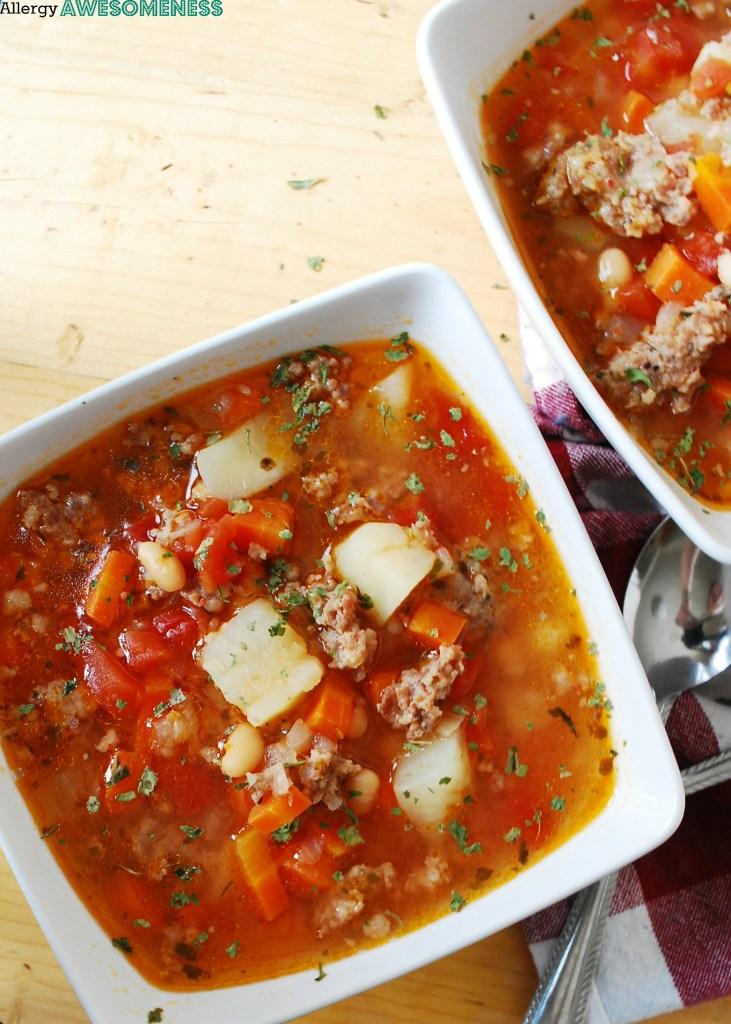 Gluten & Dairy Free Potato & Sausage Soup. Dinner recipe by AllergyAwesomeness.com